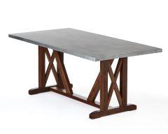 Craftsman Trestle Zinc Top Table