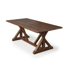 French Trestle Wood Top Table